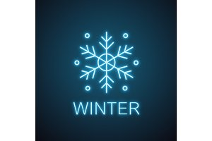 Snowflake neon light icon