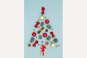 Christmas tree on blue holiday card