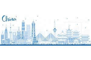Outline China City Skyline.