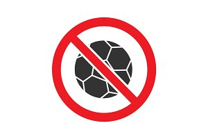 Forbidden sign with football ball glyph icon