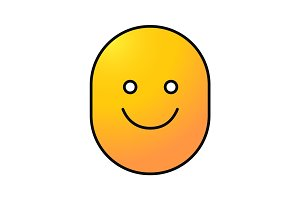 Happy and funny smile color icon