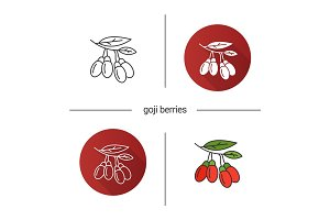 Fresh goji berries icon