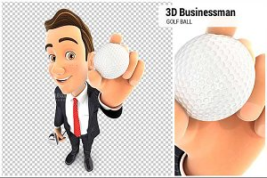3D Businessman Holding Golf Ball