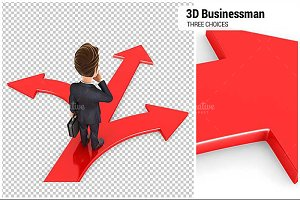 3D Businessman Three Choices