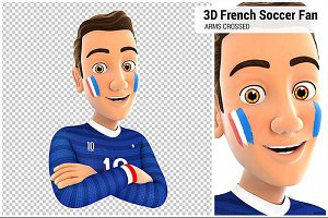 3D French Soccer Fan Arms Crossed