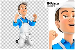 3D Successful Painter on his Knees