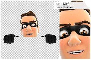 3D Thief Hiding Behind White Wall