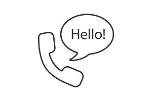 Handset and speech bubble with hello inside linear icon