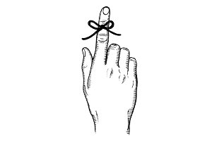 Knot on finger for memory engraving vector