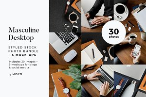 Masculine Desk Mockup & Photo Bundle