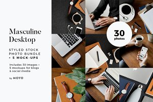 Masculine Desk Mockup & Photo Bundle