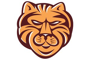 Tiger Head Front Retro