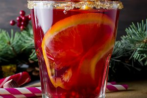 Hot toddy winter drink with spices