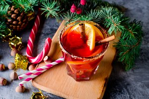 Hot mulled wine drink with orange