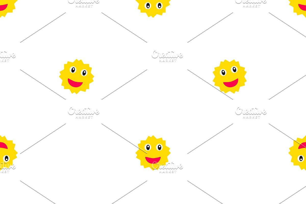 Happy Sun Motif Kids Seamless Pattern