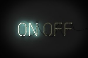 On and Off neon light sign