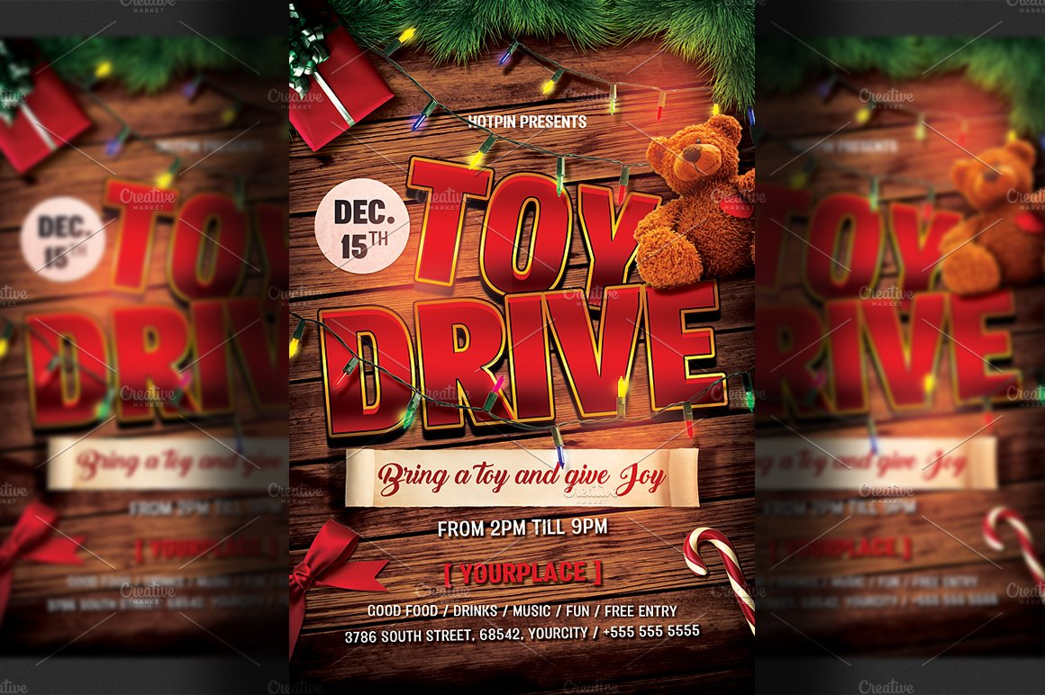 christmas toy drive flyer template flyer templates creative market