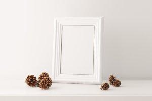 Frame, White, Mockup, Pine, PSD JPG