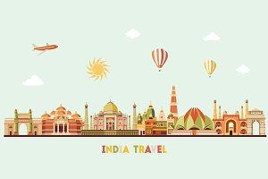 India skyline and maps. Vector