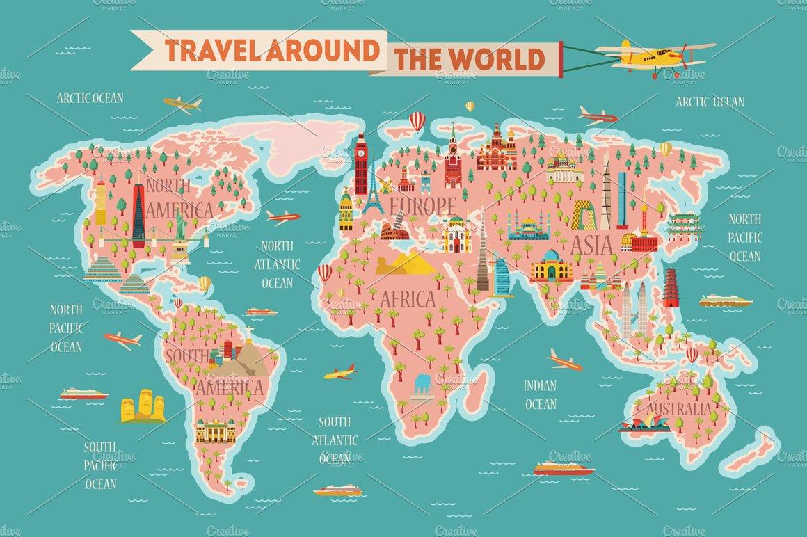 Travel. Maps. Calendars 2018   Pre-Designed Illustrator ...