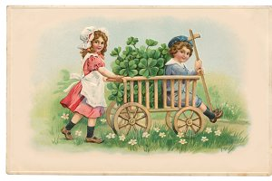 vtg greetings, clover handcart