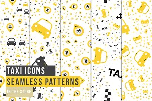 Taxi Icons - Seamles Patterns