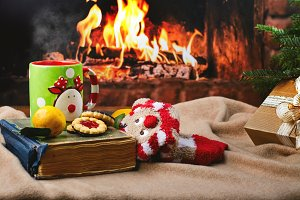 Cozy Christmas evening near fireplace