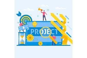 Project management business multitasking concept flat art vector icons.