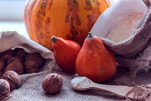pumpkins, flour and nuts