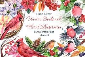 Winter birds and Floral illustration