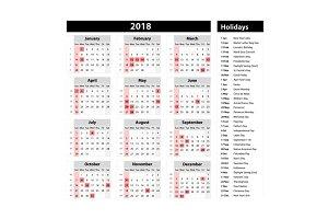 Vector of 2018 new year calendar