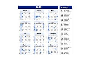 calendar & holidays 2018 vector