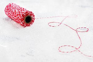 Christmas decorative red and white thread