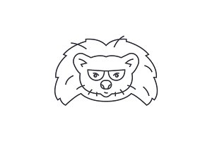 hedgehog head vector line icon, sign, illustration on background, editable strokes