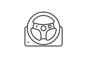 helm vector line icon, sign, illustration on background, editable strokes