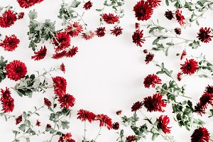 Frame of red flowers