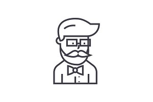 hipster beard man avatar  vector line icon, sign, illustration on background, editable strokes