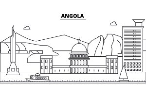 Angola architecture skyline buildings, silhouette, outline landscape, landmarks. Editable strokes. Urban skyline illustration. Flat design vector, line concept