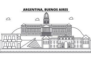 Argentina, Buenos Aires architecture skyline buildings, silhouette, outline landscape, landmarks. Editable strokes. Urban skyline illustration. Flat design vector, line concept