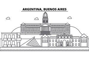 Argentina, Buenos Aires architecture skyline buildings, silhouette, outline landscape, landmarks. Editable strokes. Urban skyline illustration. Flat design vector, line concept