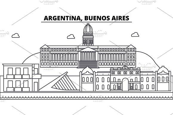Argentina Buenos Aires Architecture Skyline Buildings Silhouette Outline Landscape Landmarks Editable Strokes Urban Skyline Illustration Flat Design Vector Line Concept