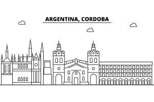 Argentina, Cordoba architecture skyline buildings, silhouette, outline landscape, landmarks. Editable strokes. Urban skyline illustration. Flat design vector, line concept