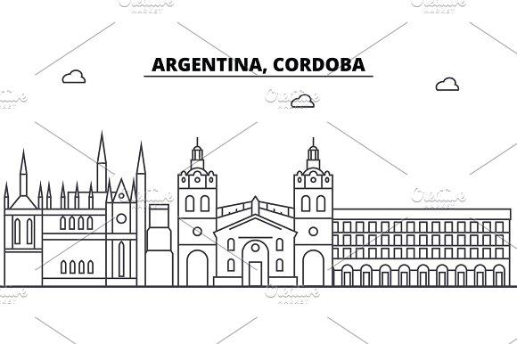 Argentina Cordoba Architecture Skyline Buildings Silhouette Outline Landscape Landmarks Editable Strokes Urban Skyline Illustration Flat Design Vector Line Concept