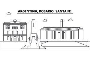 Argentina, Rosario Santa Fe architecture skyline buildings, silhouette, outline landscape, landmarks. Editable strokes. Urban skyline illustration. Flat design vector, line concept