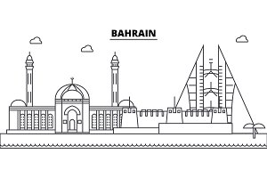 Bahrain architecture skyline buildings, silhouette, outline landscape, landmarks. Editable strokes. Urban skyline illustration. Flat design vector, line concept