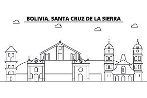 Bolivia, Santa Cruz De La Sierra architecture skyline buildings, silhouette, outline landscape, landmarks. Editable strokes. Urban skyline illustration. Flat design vector, line concept