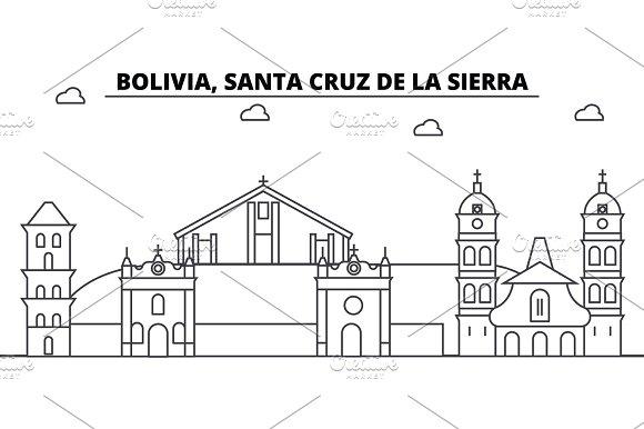 bolivia santa cruz de la sierra architecture skyline buildings silhouette outline landscape