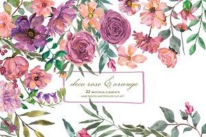Watercolor Deco Rose Clip Art