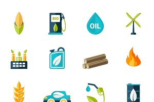 Bio fuel electricity icons set
