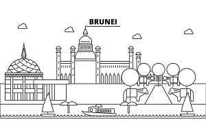 Brunei architecture skyline buildings, silhouette, outline landscape, landmarks. Editable strokes. Urban skyline illustration. Flat design vector, line concept